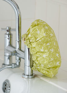 Shower Cap In Dijon Yellow Swallow Print - bathroom
