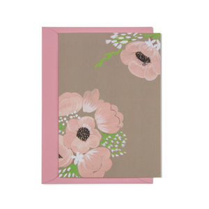 Pink Poppies Card - wedding, engagement & anniversary cards