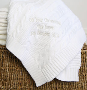 Personalised White Cable Knit Blanket - gifts for babies