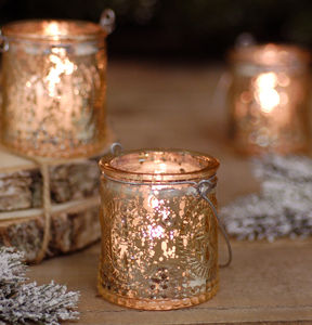 Gold Christmas Glass Candle Tea Light Holder