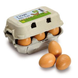 Carton Containing Six Brown Or White Wooden Eggs Toy