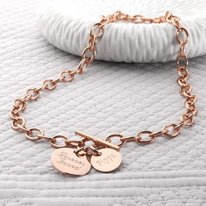 Personalised Rose Gold Charm Chain Necklace