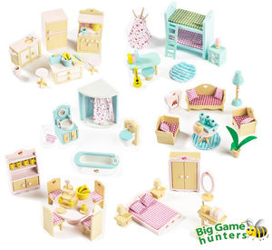Six Sets Of Sweetbee Wooden Dolls House Furniture