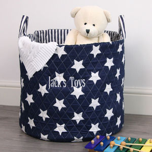 Personalised Navy Star Storage Basket - baby's room