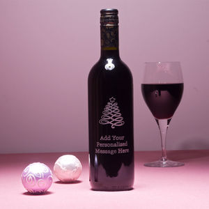 Personalised Christmas Tree Wine Gift With Your Message