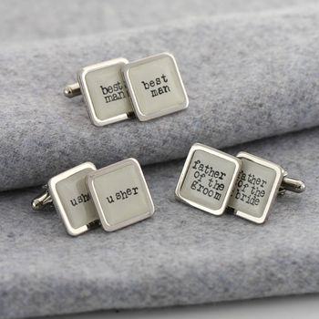 Personalised White Wedding Party Cufflinks
