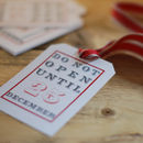 vintage gift tags with denim ribbon