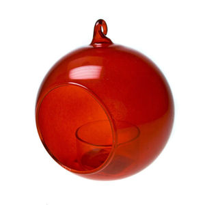 Glass Bauble Hanging Tealight Holder / Red