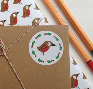 Christmas Robin And Holly Stickers - ribbon & wrap