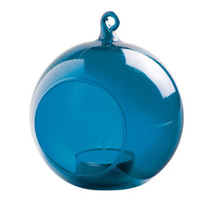 Glass Bauble Hanging Tealight Holder / Blue