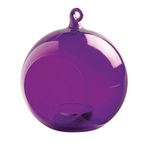 Glass Bauble Hanging Tealight Holder / Purple