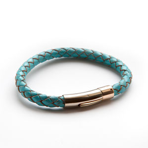 Luxury Rose Gold And Turquoise Leather Bracelet