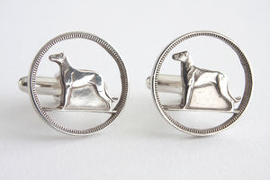Silver Hound Coin Cufflinks - men's jewellery