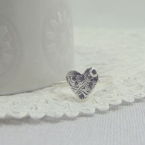 Silver Textured Heart Ring - rings