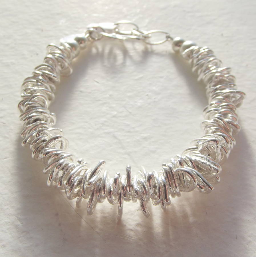 sterling silver nugget bracelet by lucy kemp silver