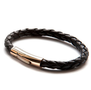 Luxury Rose Gold And Black Leather Bracelet - women's jewellery