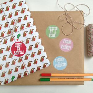Christmas Gift Wrapping Sticker Set - ribbon & wrap