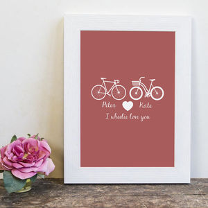 Personalised 'I Wheelie Love You' Couples Print