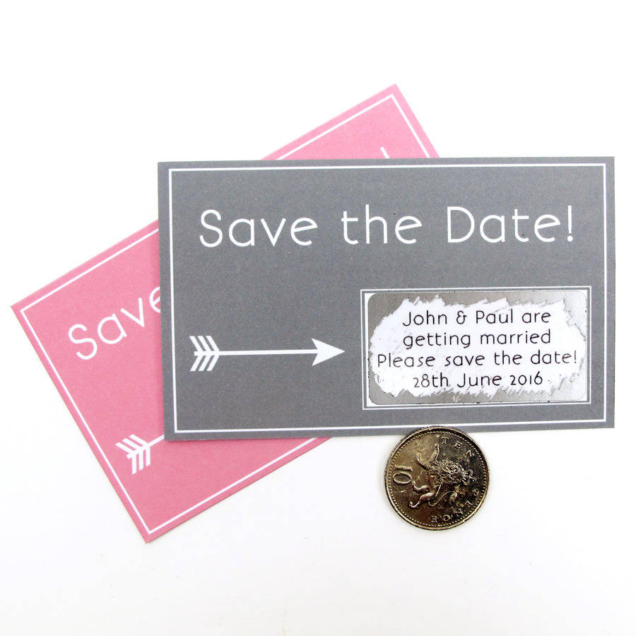 Personalised Save The Date Scratch Card By Sarah Hurley