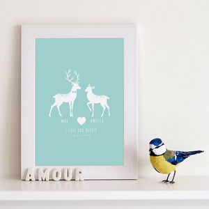 Personalised 'I Love You Deerly' Couples Print - living room