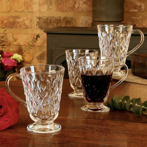 Set Of Four Clear Glass Wine Mugs
