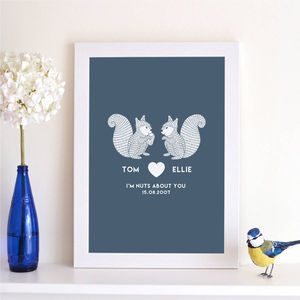 Personalised 'I'm Nuts About You' Couples Print - personalised