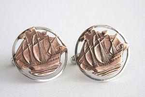 Silver Halfpenny Ship Coin Cufflinks