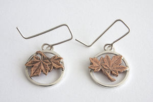 Silver Maple Leaf Drop Earrings
