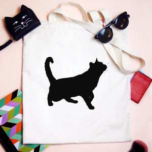 Personalised Cat Silhouette Tote Bag - shoulder bags