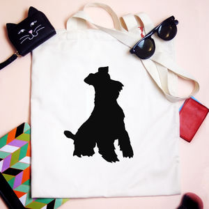 Personalised Dog Silhouette Tote Bag - shoulder bags