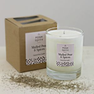 Small Mulled Pear And Spices Scented Candle - candles & candlesticks