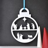 Christmas Nativity Wreath Bauble - christmas decorations