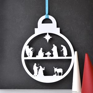 Christmas Nativity Wreath Bauble - tree decorations