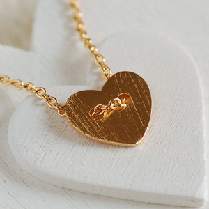 Button Heart Necklace - winter sale