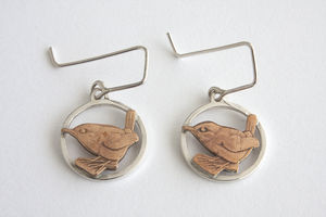 Silver Wren Drop Earrings - earrings