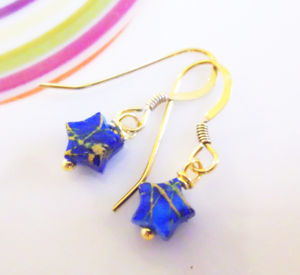Blue And Gold Mini Star Gold Vermeil Earrings - women's sale