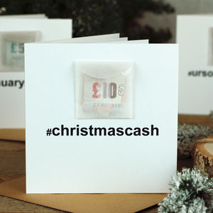 Hashtag Cash Personalised Cash Christmas Card - christmas cards