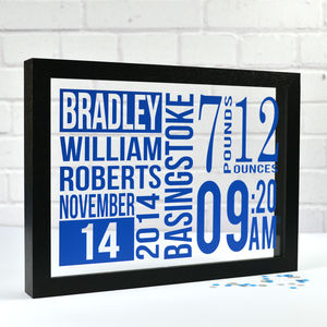Personalised New Baby Framed Wall Art - mixed media & collage
