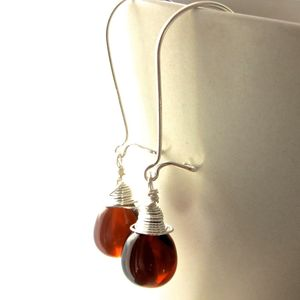 All Wrapped Up Amber Glass Silver Earrings