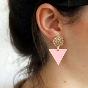 Geometric Drop Earrings In Pink And Gold Glitter