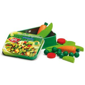 Tin Containing Wooden Vegetables Toy