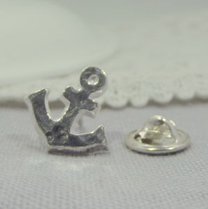 Sterling Silver Anchor Tie Pin - men's jewellery