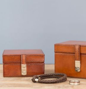 Leather Wedding Box Set - cufflink boxes & coin trays