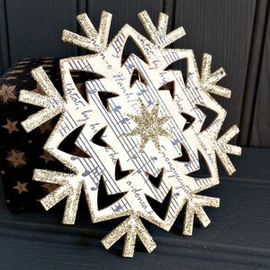 Musical Note Wooden Snowflake Ornament - christmas home accessories