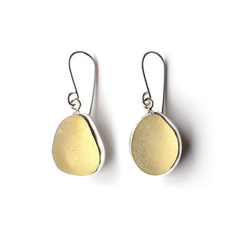 Pale Yellow Sea Glass Earrings