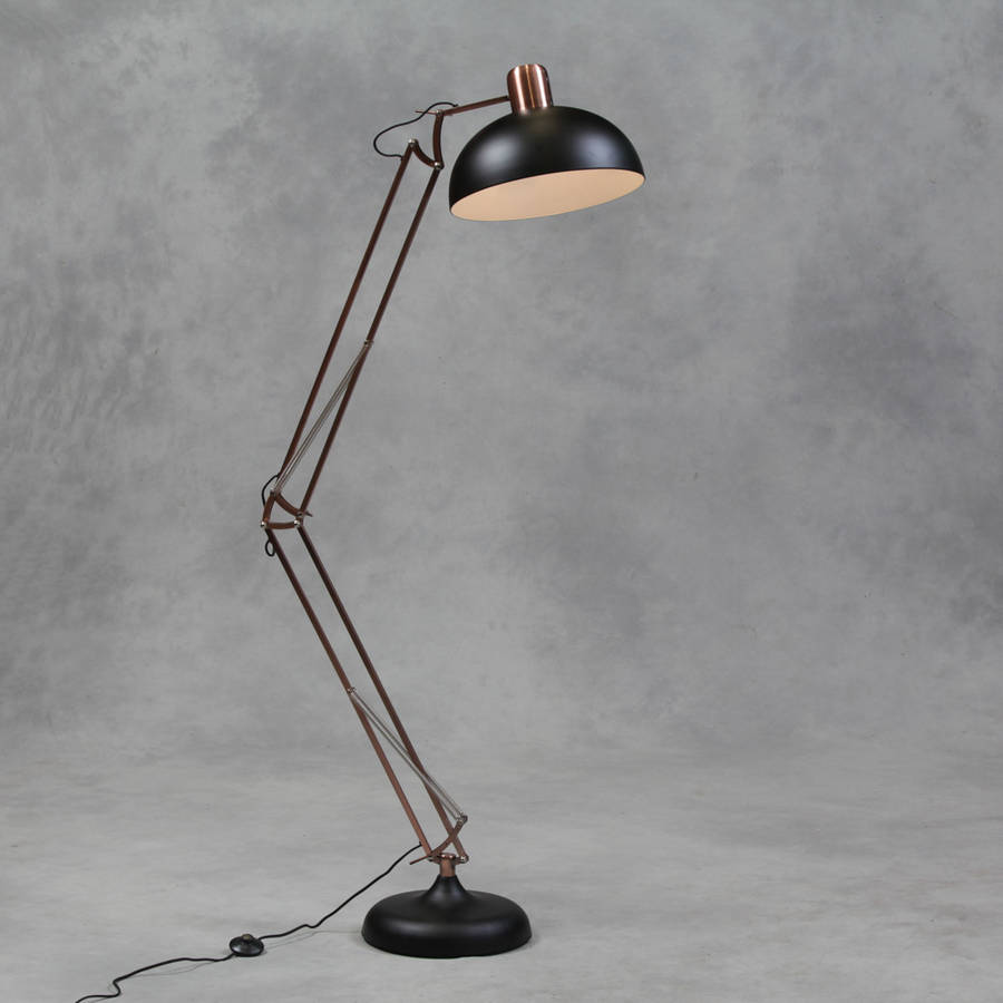 Copper angled floor lamp by the forest co for Big copper floor lamp
