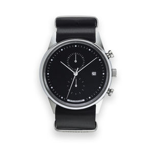 Hypergrand Maverick Black Leather Chronograph Watch - men's jewellery