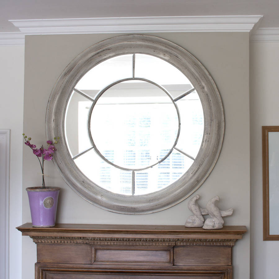 White washed round mirror by decorative mirrors online for Large white decorative mirror