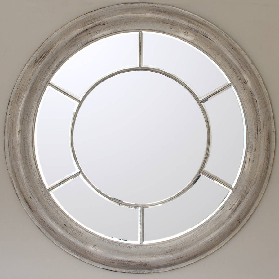 White washed round mirror by decorative mirrors online for Fancy white mirror