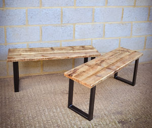 Industrial Reclaimed Dining Bench On Steel Base - furniture